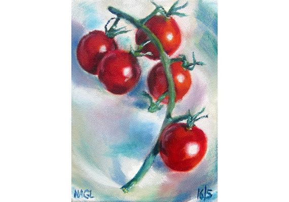 Tomatoes on the Vine (May 2014), original still life oil painting on box canvas on Etsy, £70.00
