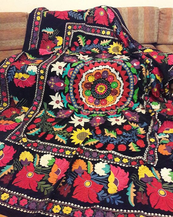 Uzbek vintage silk velvet embroidery suzani.Tablecloth Wall