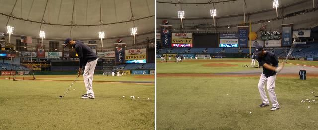 """Ball Fore: David Price turns the Trop into a pre-game driving range with Holly Sonders, a Golf Channel host. She """"threw out"""" the first ceremonial pitch by chipping a golf ball to LHP Cesar Ramos, an avid golfer & fan of Sonders. (9-16-13)"""