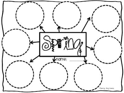 Spring Web - write adjectives describing Spring in each circle, then write these adjectives on the rainbow craft