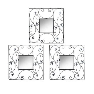 Elements15-inch Black Square Scroll Jeweled Mirror Set (Set of 3) | Overstock™ Shopping - Big Discounts on Elements Mirrors