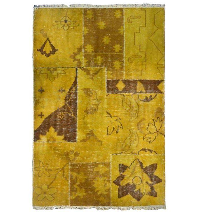 Vloerkleed geel kelim 130 x 170 cm