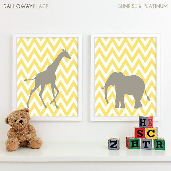 Kids Art for Children, Baby Nursery Decor, Zoo Jungle Nursery Art Print, Safari Animal Nursery Wall Art Chevron Kids Decor - Two 11x14. $40.00, via Etsy.