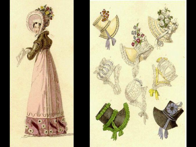 Las mujeres llevan el cabello recogido al estilo griego, acompañado por una capota de amplia ala o visera. El calzado también toma características del mundo grecolatino, con cintas que se envuelven hasta la altura de la pantorrilla.