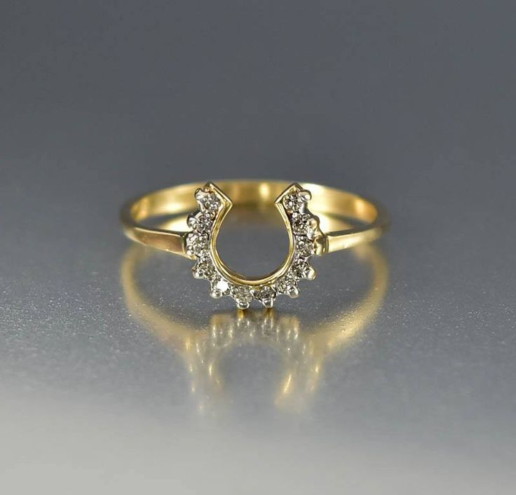 Vintage 14K Gold Lucky Diamond Horseshoe Ring  #Ring #14K #intage #Yellow #Diamond #Vintage #Gold #Antique #Token #boylerpf