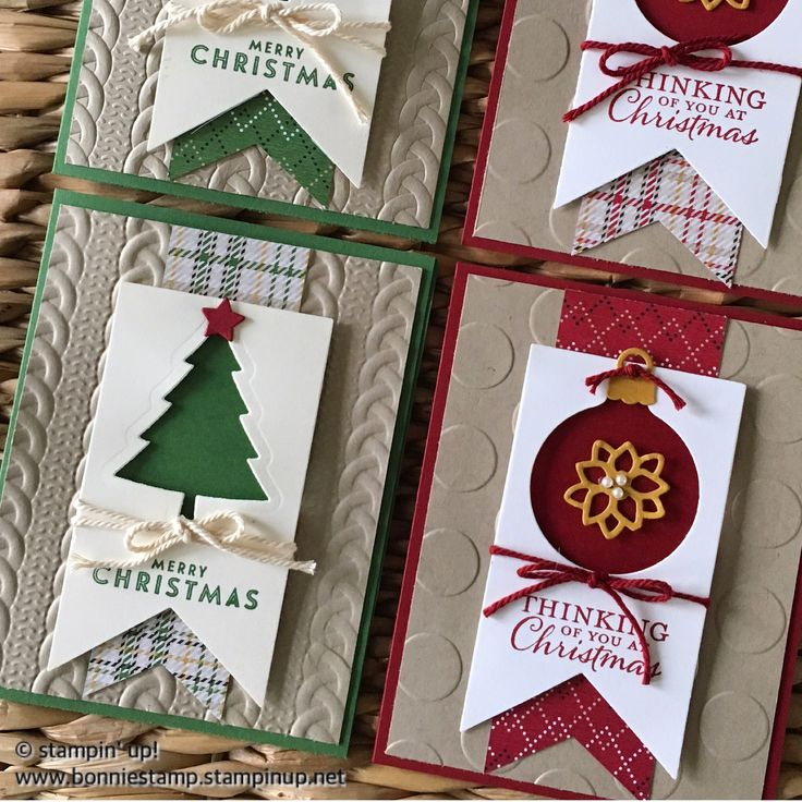 So many options when you use SU! Products for holiday cards! #holidaycards #peacefulpines #delicateornaments   www.bonniestamp.stampinup.net