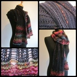 Forside - valket tørklæde - sort og regnbue