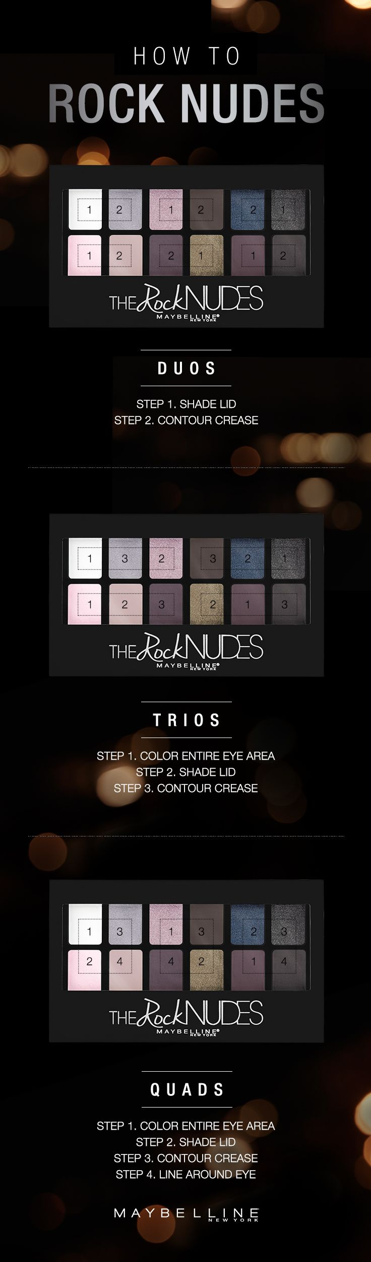 Create 13 different eye looks with the Maybelline Rock Nudes eyeshadow palette. Edited for edge, from heavy metal to quietly quartz, dare to rock nude. Follow this makeup guide for eye looks to rock this summer.