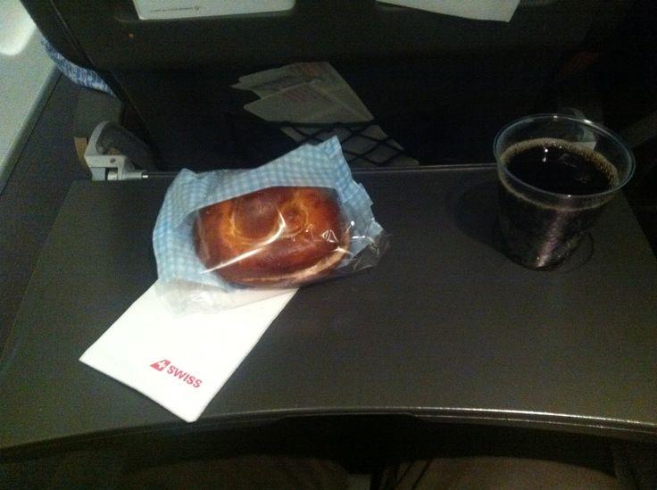 Swiss Economy, Zürich - Prague, coke, pastry with cheese