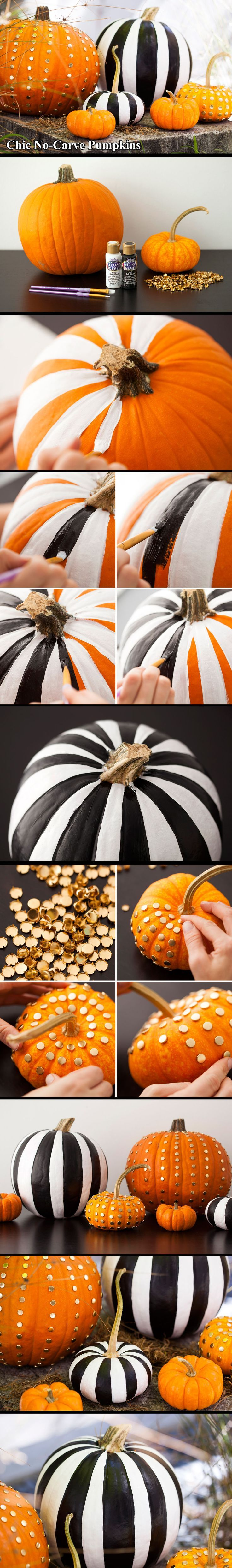 2 ways to make chic no carve pumpkins - Decorated Halloween Pumpkins