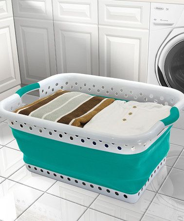Look at this #zulilyfind! Teal & White Collapsible Laundry Basket #zulilyfinds