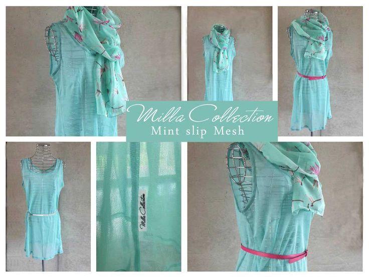 Slip over & cover up for swimwear. Mint slip mesh dress