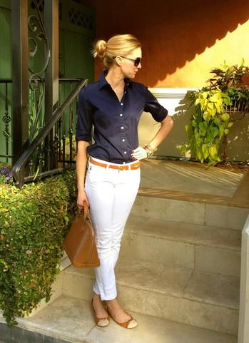 Dark blue button up 3/4 sleeve blouse, white skinny ankle pants, camel skinny belt, camel tan flats with white toes