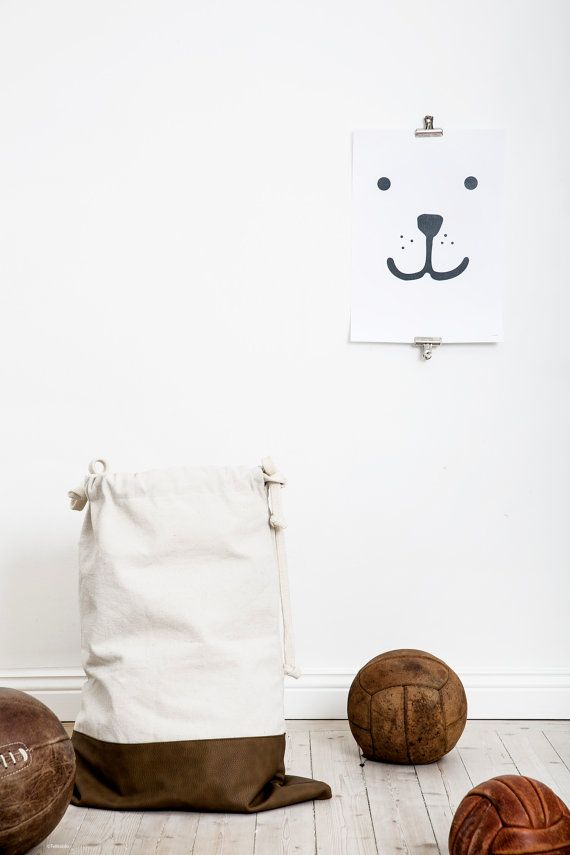 Pleather fabric bag storage of toys books or teddy by Tellkiddo