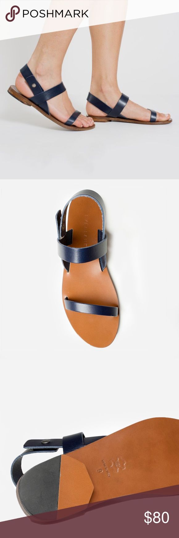 Italian leather sling-back sandal brand new Navy blue shoes!! beautiful sandal for spring and summer. no longer available to buy new online Everlane Shoes Sandals