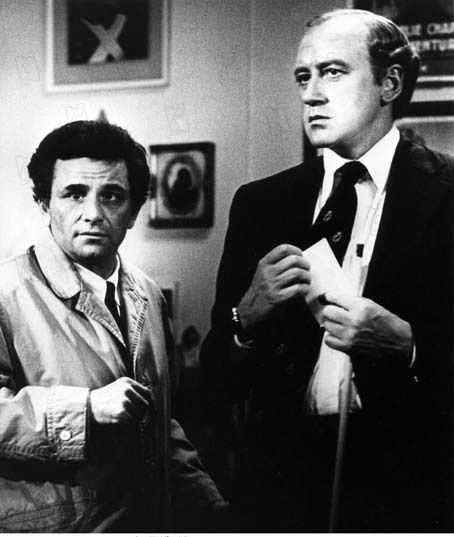 "Peter Falk and Nicol Williamson during production of ""Columbo"" episode, ""How to Dial a Murder,"" 1977"