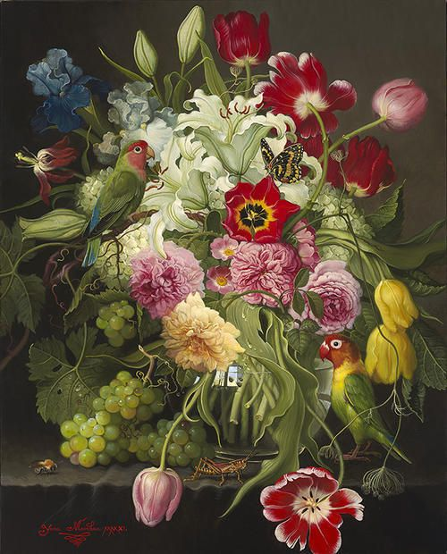 Flowers With Love Birds Beautifully Painted In The Style Of The Dutch Masters Botanical