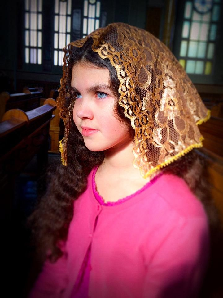 Small Golden Mantilla, Catholic Lace Veil, Church Mantilla, Mantilla, Veils for Girls, Chapel Mantilla, Latin Mass Mantilla, Chapel Veil