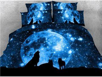 Stunning Moonlight 3D Wolf Digital Printing 4-Piece Duvet Cover Sets