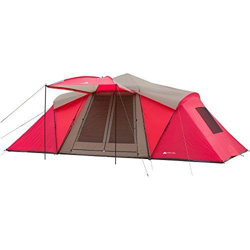 The spacious Ozark Trail 21 x 10 3-Room Instant Tent with Awning has an 84-inch ceiling height for ample headroom. Front and back doors allow for easy tent access and feature an extra-tall front awning for protected tent entry. Setup takes less than three minutes and requires minimal assembly: simply pop up the instant center [ ]