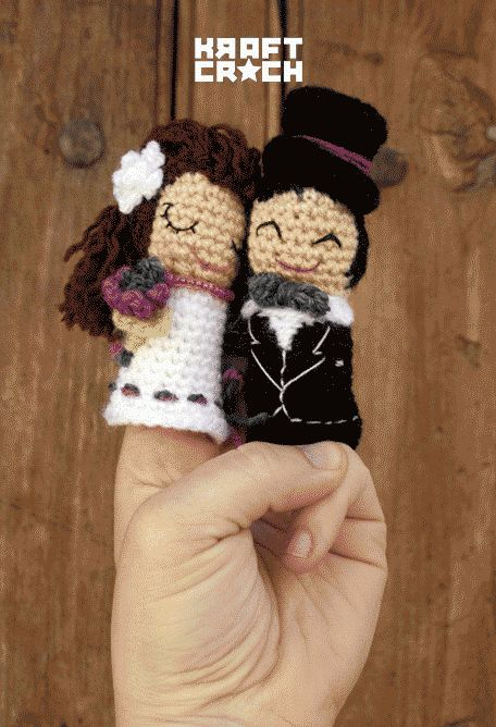 ♥ no hay dos sin tres #wedding #fingerpuppets #crochet