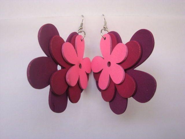 Elegant Women Drop Earrings Mixed Pink Colors Wooden Flower Dangle Earrings #Congyang #DropDangle