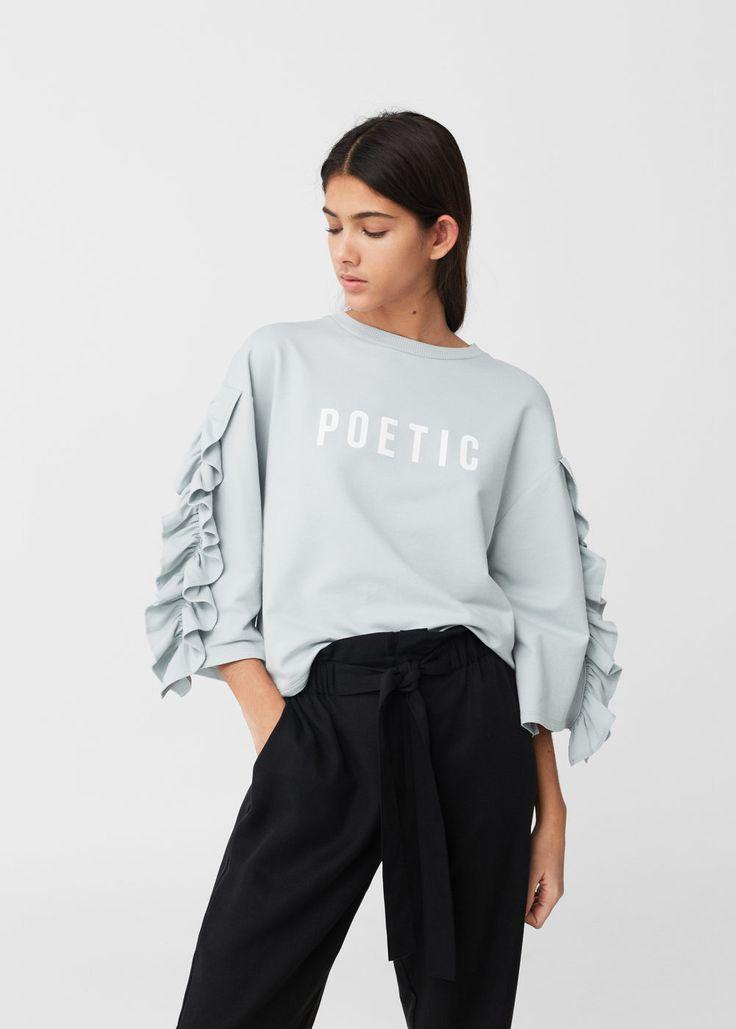 Sweatshirt mit volantärmeln | MANGO