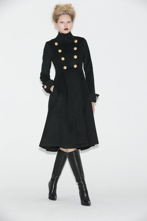 Black Military Coat  Long Double-Breasted Wool Lined by YL1dress