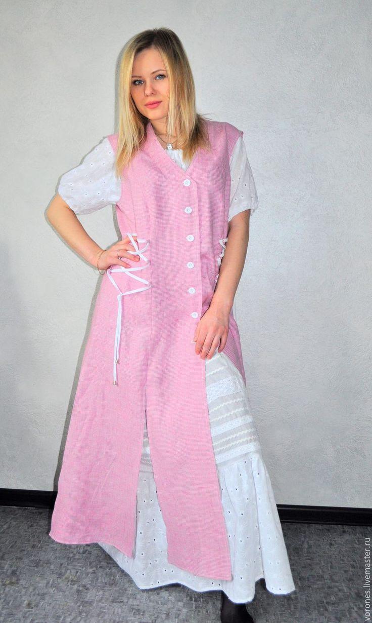 Купить Комплект три предмета-лен, хлопок(сарафан, юбка, блуза) - в клеточку, бохостиль, бледно-розовый