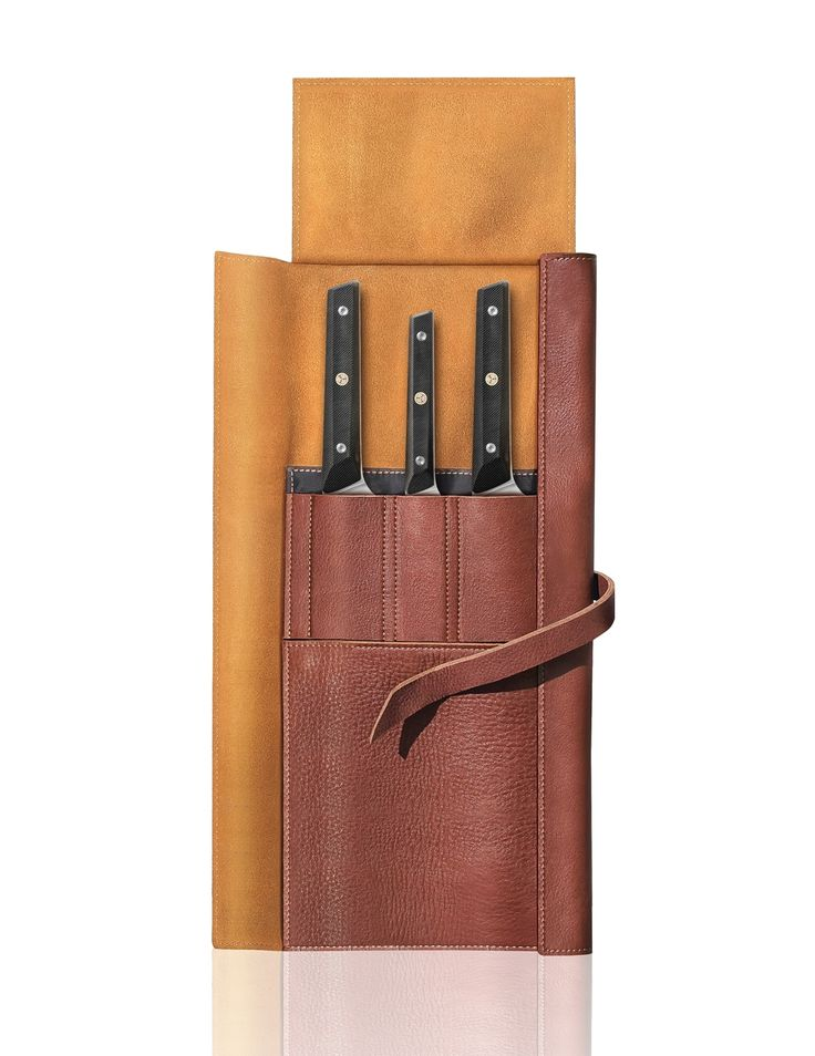 Cangshan TG Series 62304 Swedish 12C27 Steel 4-Piece Knife Leather Roll Set   Cangshan Cutlery   Professional Kitchen Knives