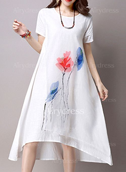 Dress - $24.63 - Cotton Linen Floral Short Sleeve Mid-Calf Casual Dresses (1955121908)