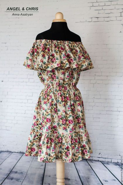 Купить или заказать Платье с рюшью Joanna,платье из хлопка,летнее платье... в интернет-магазине на Ярмарке Мастеров. Платье Joanna с открытыми плечами. Из качественного 100% хлопка.Цветочный принт, длина мини,женственно и соблазнительно... Платье было сшито на заказ. Цена указана за пошив платья с длиной мини. Соответственно длиннее платье,цена выше. А вы,дорогие девушки, можете заказать такую модель в других тканях и размерах. Отлично такая модель будет смотреться с длиной миди и макси.