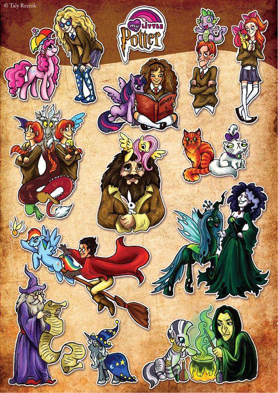 My Little Pony Harry Potter Crossover Poster Fluttershy Pinkie Pie Luna Hermione Fred George Discord Snape Chrysalis Bellatrix on Etsy, $18.00
