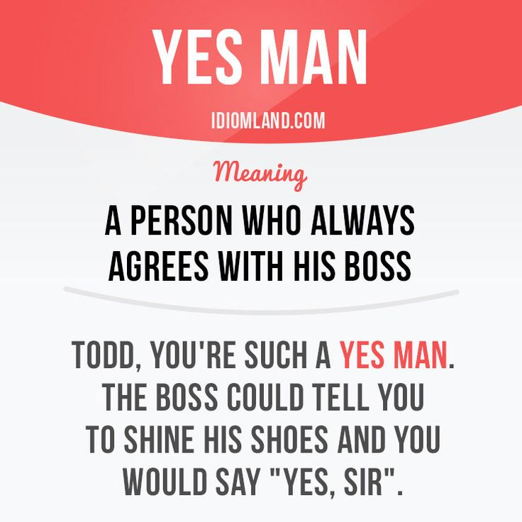 """Yes man"" is a person who always agrees with his boss. Example: Todd, you're such a yes man. The boss could tell you to shine his shoes and you would say ""Yes, sir""."