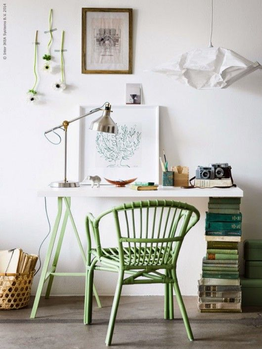 Ikea Holmsel chair and Lerberg desk. Loving the green and those books!!! from Livet Hemma