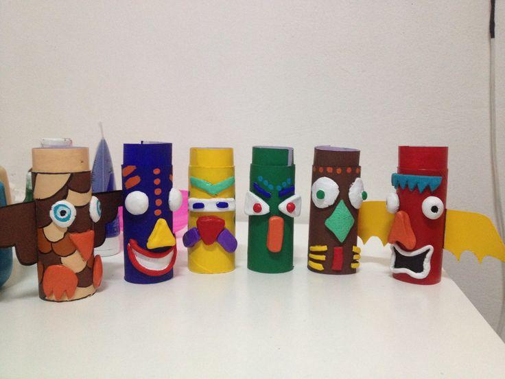 Paper roll totem craft