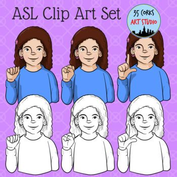 """Here is my girl with the cochlear implant hand-spelling """"ASL"""". This freebie is considered a personal/commercial license combo. In this set, you'll get 6 images - 3 colorized and 3 black and white - as high-quality, crisp 8.5 x 11 inch PNG files. Thank you for"""