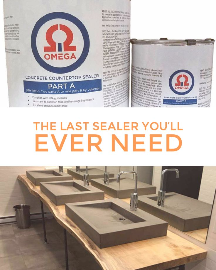 Omega Concrete Countertop Sealer — Your sealer woes are finally over. Do in 2 hours what used take 2 days. Purchase the last sealer you'll ever need here: http://www.concretecountertopinstitute.com/shop/omega-concrete-countertop-sealer/?utm_content=buffer614d1&utm_medium=social&utm_source=pinterest.com&utm_campaign=buffer #ConcreteSealer #ConcreteProfessional