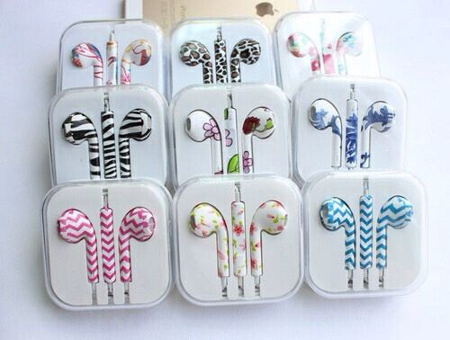 Printed Colorful OEM EarPods Earphones with Volume Control & Mic for Iphone Ipod