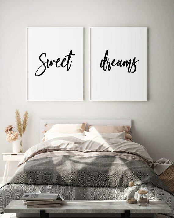 Above Bed Sweet Dreams Wall Art Modern Bedroom Decor Set Of Etsy In 2020 Kid Room Decor Modern Bedroom Decor Above Bed