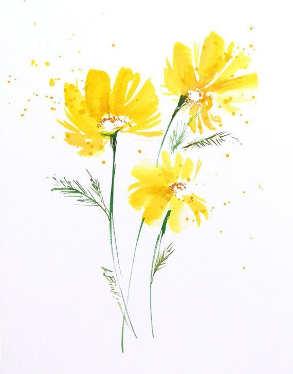Original Watercolor Yellow Flower Painting Abstract Painting