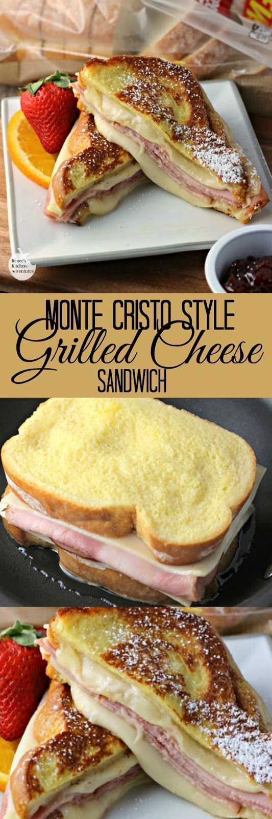 Monte Cristo Style Grilled Cheese Sandwich | by Renee's Kitchen Adventures - easy recipe for sweet and savory grilled cheese sandwich with ham and swiss. Great for lunch or dinner.