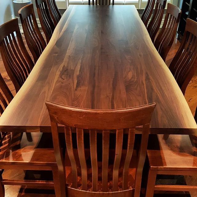 Overhead shot of a 10ft live edge walnut dining table and chairs delivered last month.  .  .  #furniture #liveedge #livingedge #walnut #blackwalnut #design #interior #interiordesign #toronto #oakville #burlington #diningtable #kitchen #diningroom #houseandhome #muskoka #cottage #staging #realestate #wood #table #rustic #farmhouse #modernrustic #chairs #diningchair #etsy #pinterest #houzz