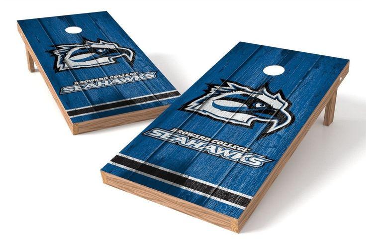 Broward College Seahawks Cornhole Board Set - Vintage (w/Bluetooth Speakers)