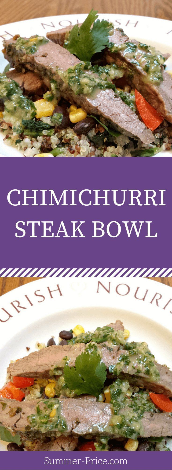 This Chimichurri Steak Quinoa Bowl is a simple, easy recipe for leftover meat. It doesn't have to be a flat iron or skirt steak. Any beef, chicken or even veggies would be great for dinners or any meal. The chimichurri sauce or marinade is gluten free, full of fresh herbs like cilantro and parsley & is also a great salad dressing. Cooking healthy for families doesn't have to be complicated. via @summerprice1