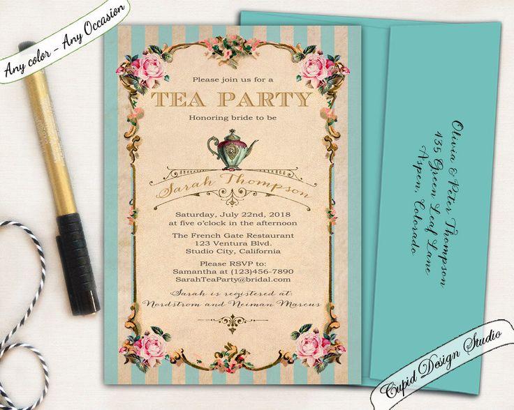 New to CupidDesigns on Etsy: High Tea Birthday invitations. Shabby chic Bridal Shower. Marie Antoinette Tea Party. Turquoise bridal shower invitation. (22.00 USD)