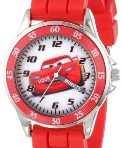 Disney-Kids-CZ1009-Time-Teacher-Cars-Lightning-McQueen-Round-Watch-with-Red-Rubber-Strap-0