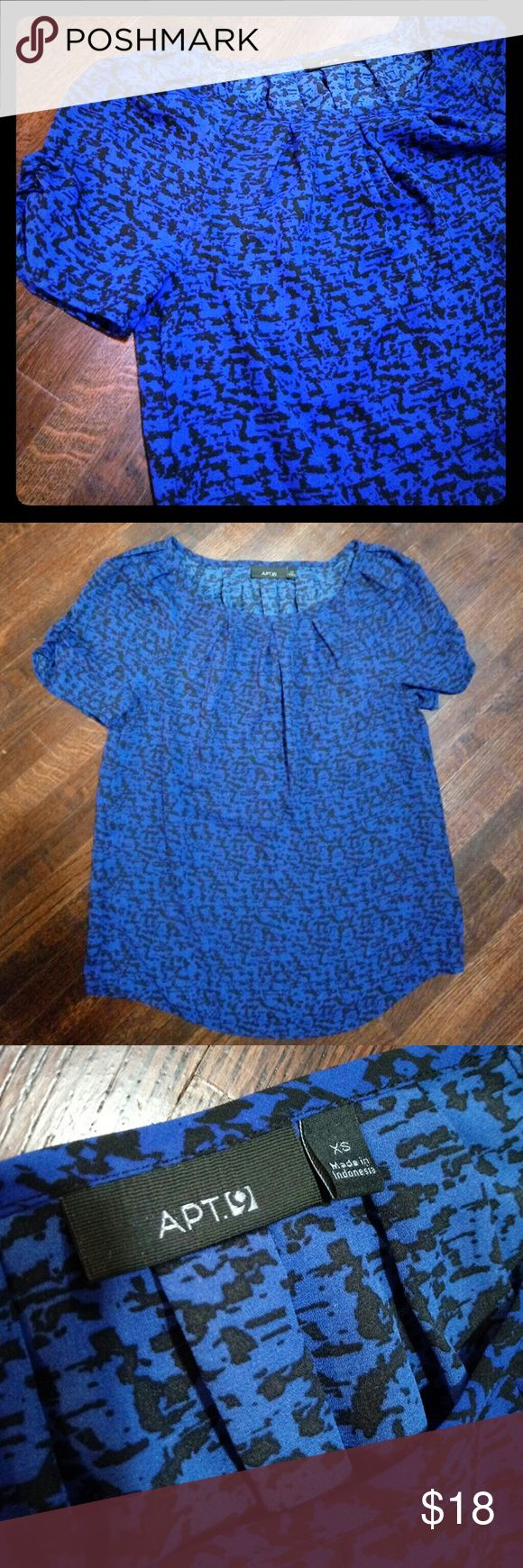 Royal Blue Blouse This royal blue top is cheetah print. NWOT. Size extra small, but can fit a small. This top is super cute and looks great under a blazer or just on it's own. Apt. 9 Tops Blouses