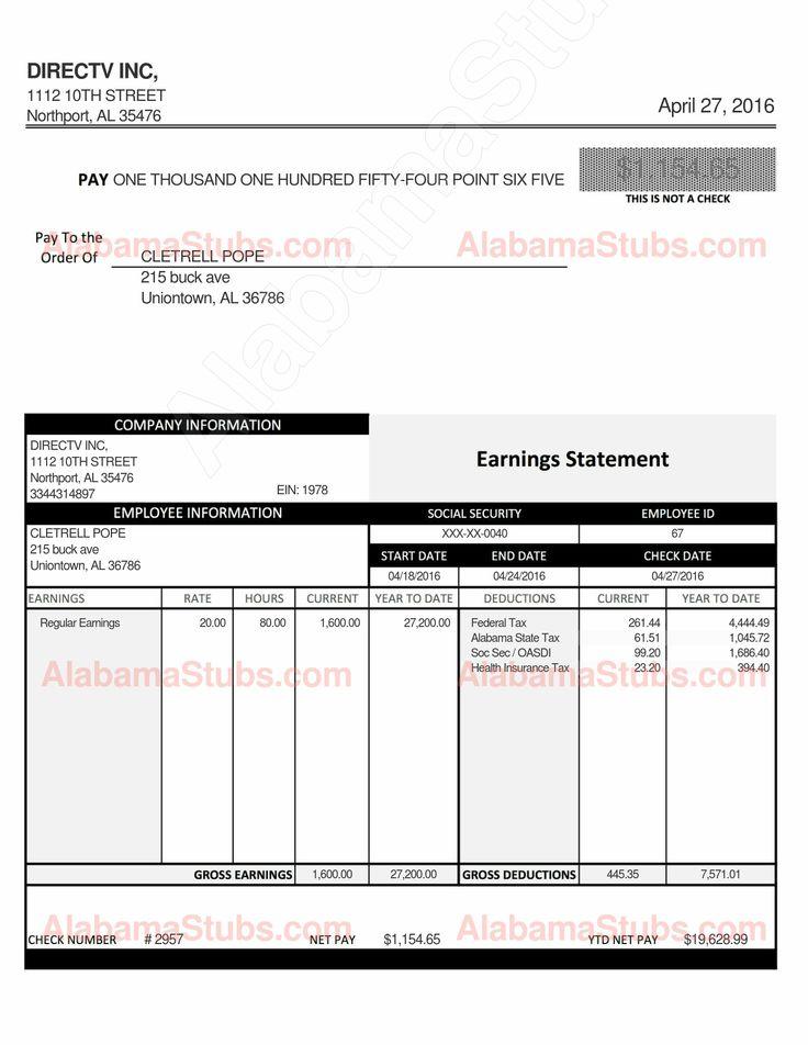 Alabama Hourly Employee PayStub Generator AlabamaStubs