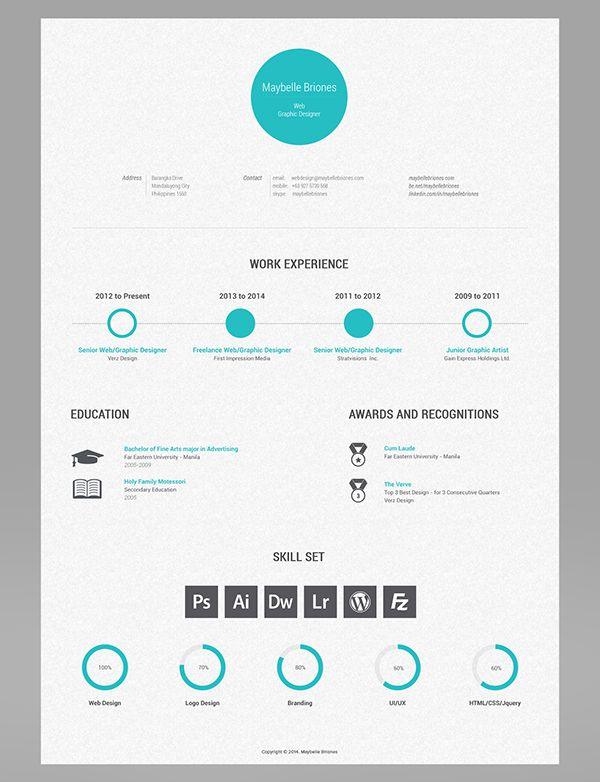 Clean, simple, awesome resume design by Maybelle Briones, via Behance ... For more resume inspirations click here: www.pinterest.com/sheppardaaron/-design-resumes/ Creative Resume Design, Resume Style, Resume Design, Curriculum Vitae, CV, Resume Template, Resumes, Resume Format.